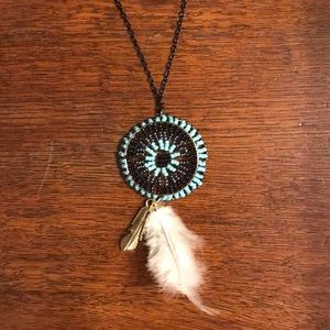 Anthropologie Jewelry - Anthropologie Boho Turquoise Medallion Necklace